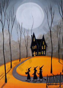 Witch-Halloween-black-cat-cabin-wood-haunted-house-art-ACEO-print-of-painting-DC
