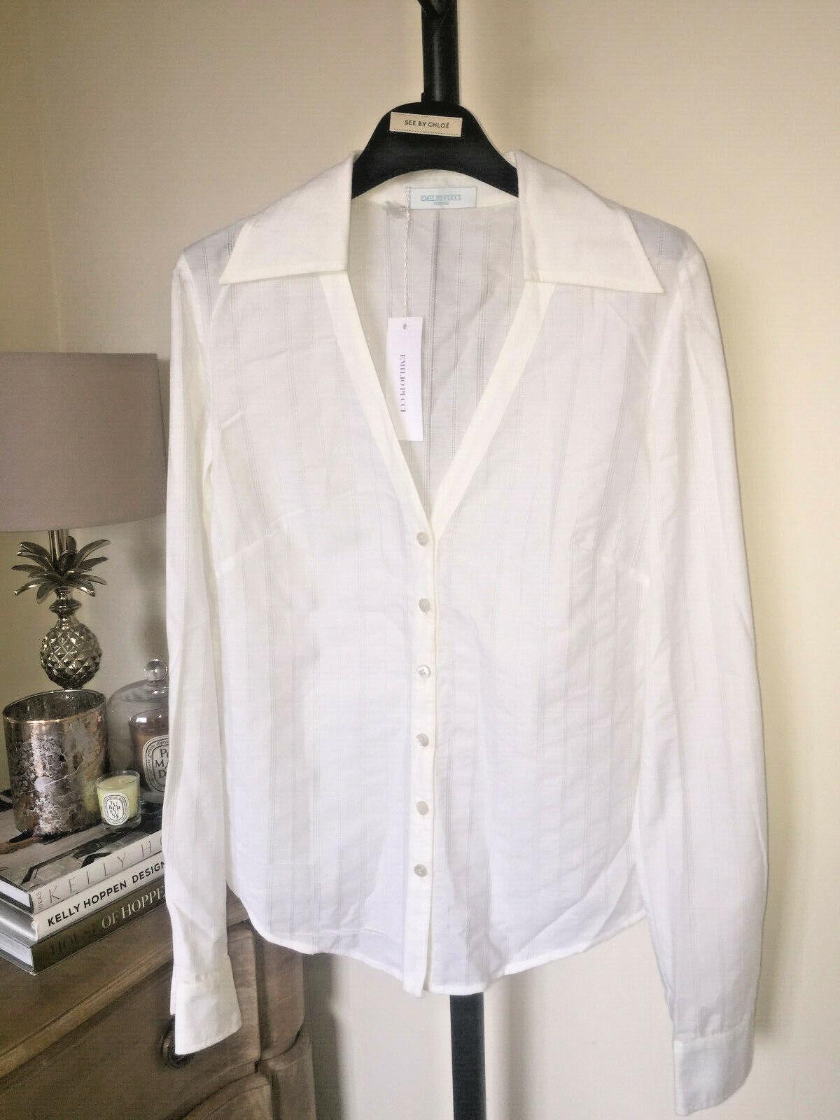 Emilio Pucci Weiß Striped Vneck Shirt  Blouse Top