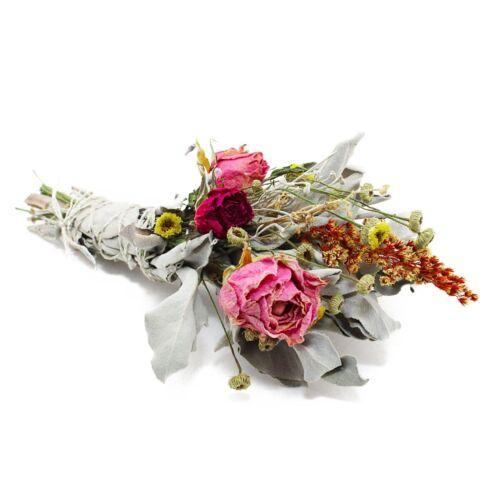 Sage Goddess Smudge Bundles with White Sage, Larkspur, and Pink Roses