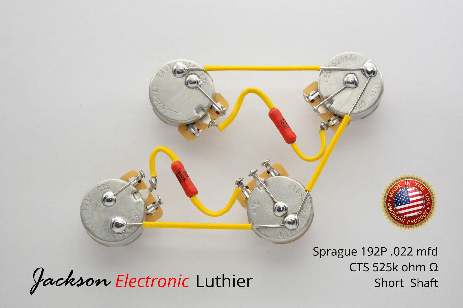 Les Paul Wiring Harness Kit 525k Short .022 uF Sprague 192P Orange DROP Caps