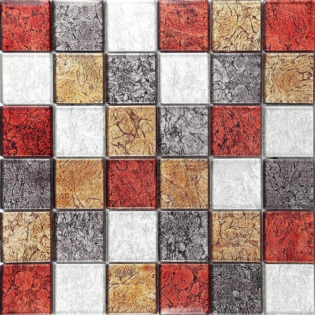 1 SQ M Autumn Hong Kong Foil Mix Glass Mosaic Bathroom DIY Wall Tiles 0072