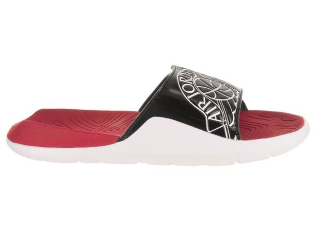 266f35a43df0 NEW AA2517 001 MEN S JORDAN HYDRO 7 SANDALS !! BLACK WHITE-GYM RED