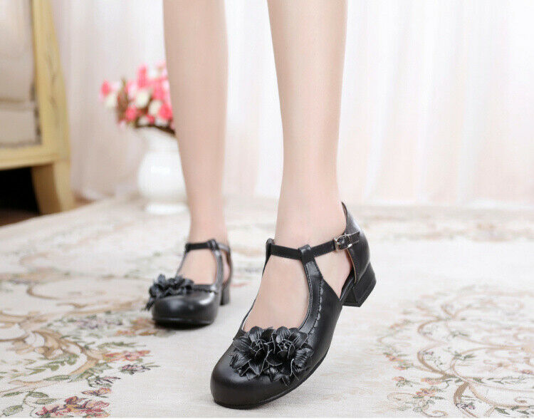 2019 womens sweet retro lolita shoes round toe ankle strap buckle solid color