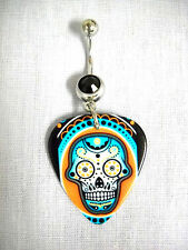 NEW SUGAR SKULL MIAMI COLORS PRINTED GUITAR PICK BLACK CZ BELLY RING NAVEL RING