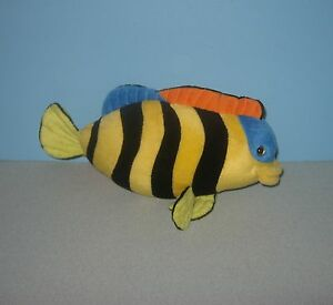 12 Yellow Black Stripes Tropical Fish Stuffed Plush Animal W Blue