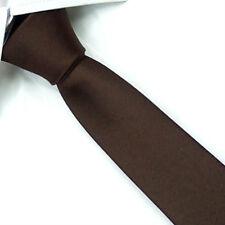 D.berite Coffee 100% Silk Man Wedding Groom Solid Skinny Slim Tie Necktie SK12