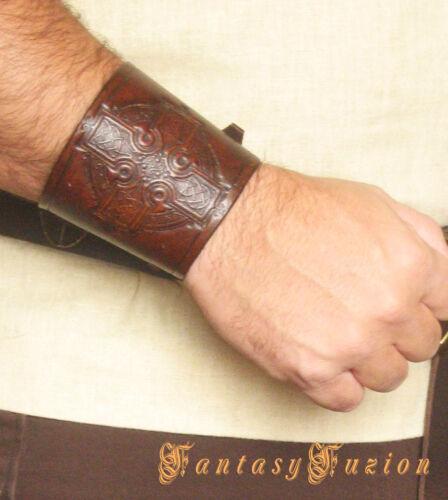 Medieval Knight Armor Celtic Cross Design Leather Cuff Bracer