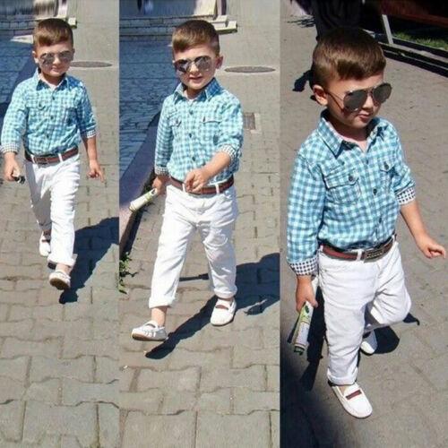 3PCS Kids Boy Shirt Tops Long Pants Belt Outfits Set Casual Suit Formal Clothes