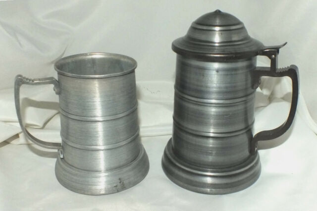 Pair of Pewter Style Brushed Aluminum Tankards Steins with Clear Bottoms