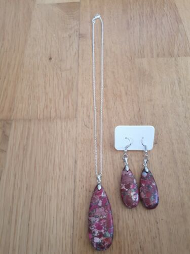 Peachblow Mar Sedimentos Colgante Collar Aretes Set 925 Plata Regalo