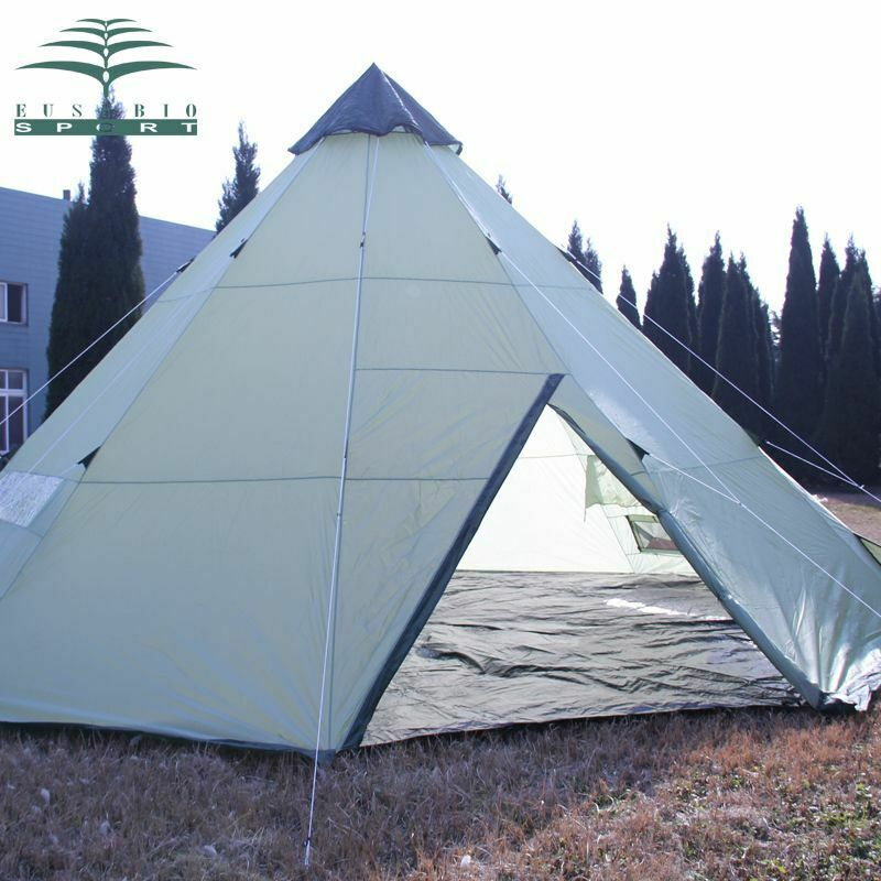 Outdoor Large Camping Tent 10 Persons Waterproof Indian Single Layer Canopy Room