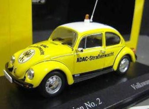 ULTRA RARE MINICHAMPS VW BEETLE ADAC GERMAN CAR CLUB 1 43 MINT IN BOX