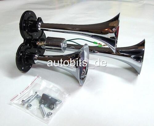 12v 24v 3-klang Flourish Compressed Air Horn Fog Chrome Lorry E-Certified