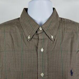 Ralph-Lauren-100-Cotton-Mens-Red-Brown-Blue-Mini-Check-Dress-Button-Shirt-Sz-XL