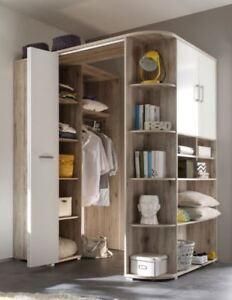 kleiderschrank eckschrank eckkleiderschrank begehbarer kleiderschrank sandeiche ebay. Black Bedroom Furniture Sets. Home Design Ideas