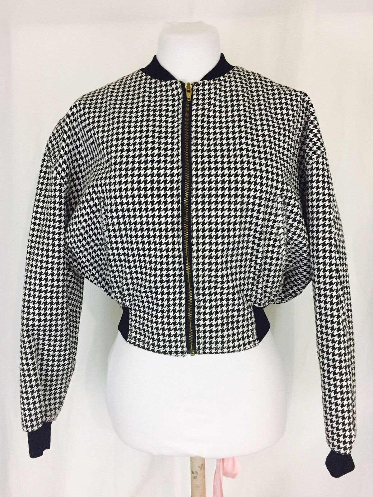 Houndstooth Cropped Bomber Jacket Vintage 1980's Small Women's Black White