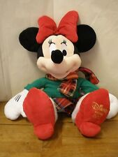 Disney Store 2012 Christmas Minnie Mouse Pink Stuffed Animal Plush Plain Winter