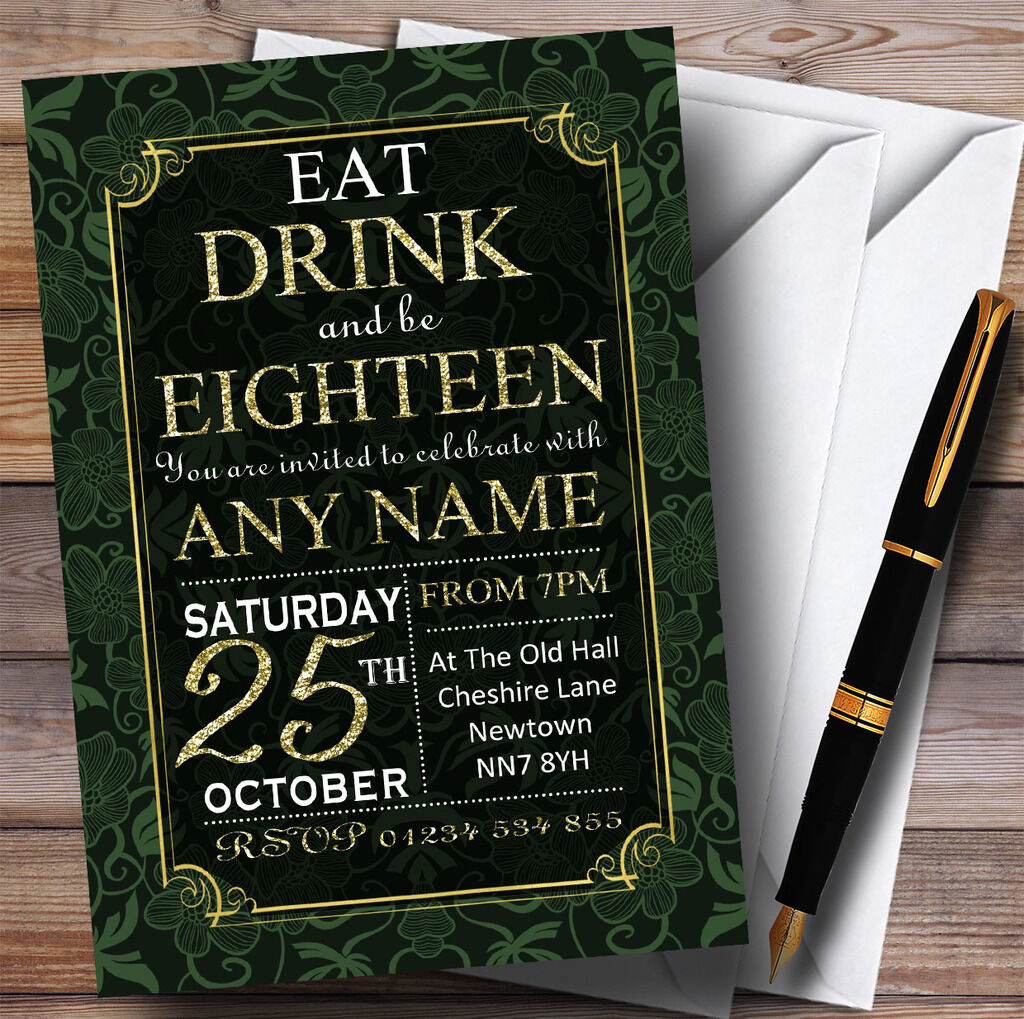 Grün & & & Gold Flowers 18th Personalised Birthday Party Invitations e57105