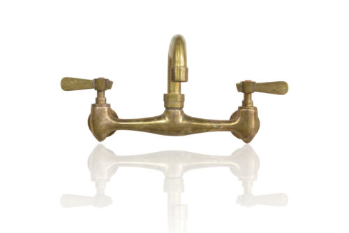 Artisan Aged Natural Brass 8 inch Center Commercial Style Faucet w//Lever Handles