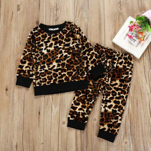 0164bfe02cb4 Details about Toddler Baby Girl Boy Leopard Print Tops T-shirt Pants Casual  Kid Outfits Set US