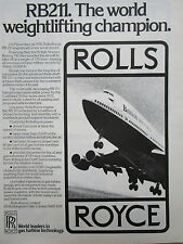 1/1978 PUB ROLLS-ROYCE RB211 ENGINES BOEING 747 BRITISH AIRWAYS ORIGINAL AD