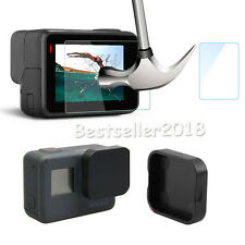 For GoPro Hero 5 Screen Tempered Glass Film + Camera Lens Cover Cap Protector