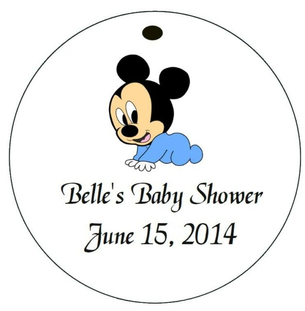 MICKEY MOUSE BABY SHOWER* 12 Personalized Hanging Favor Round Gift Tags