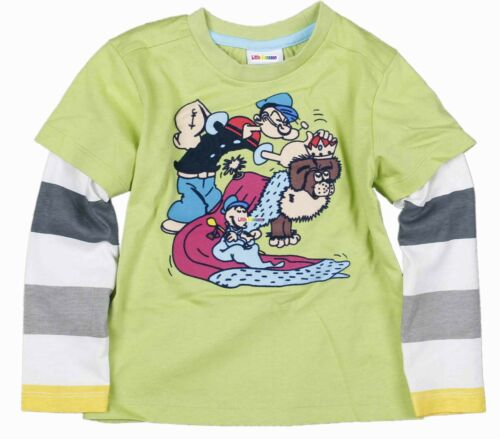 Garçons t shirt à manches longues vert Popeye le marin 18-24 3-4 2-3 5-6 ans 4-5