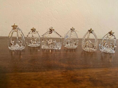 Box of 6 Assorted Crystal Nativity Ornaments