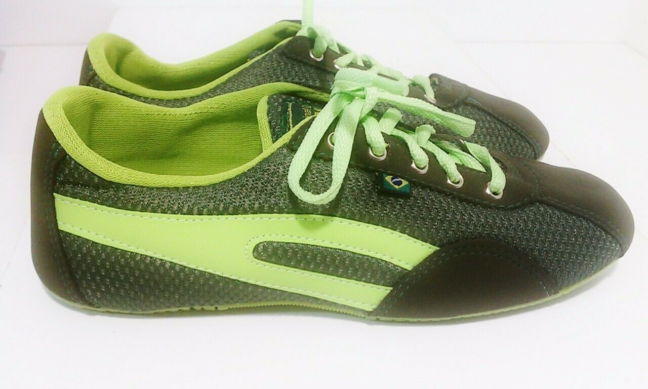Taygra Brasil Olive Green & Glow Green Slim Sneakers Flexible Shoes Size 8