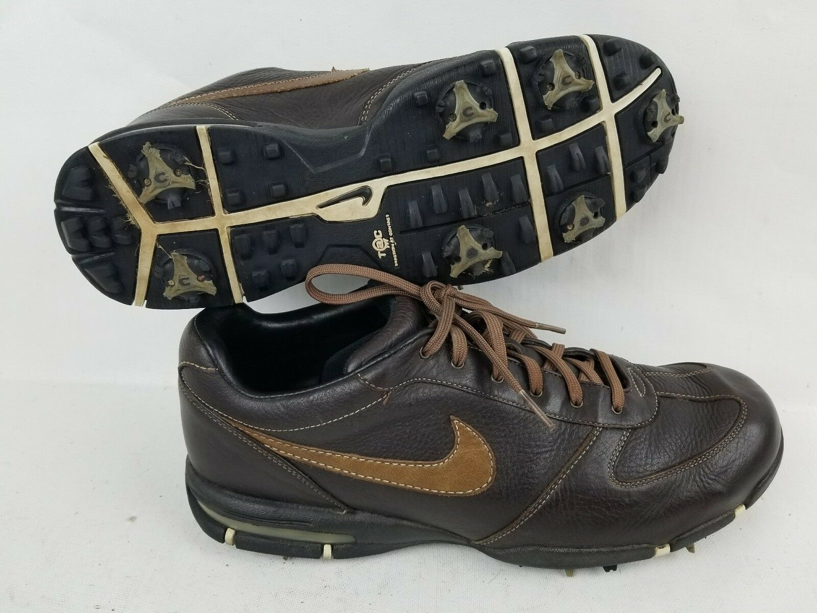 Nike Mens Brown Leather Golf walking Shoes Comfortable