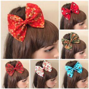 Christmas-Hair-Bow-Hairband-Headband-Bandana-Tie-Band-Fabric-Snowman-Gingerbread