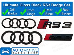 Audi-RS3-anneaux-noir-brillant-calandre-amp-Boot-Badge-Embleme-SET-Full-Black-Out-Set