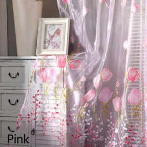 Floral-Tulle-Voile-Door-Window-Curtain-Scarf-Sheer-Drape-Panel-Valances-Divider