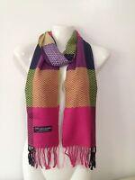 100% Cashmere Scarf Chevron Design Pink Made In Scotland Super Soft