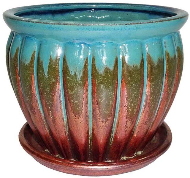 Garden Pot Ceramic Round Planter Indoor Outdoor Plant Flower Drainage Hole  7 In.