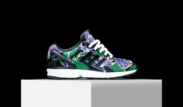 37f0cfa53 Adidas ORIGINALS ZX FLUX Hawaiian Floral Black Green Purple Men s Shoes  B34518