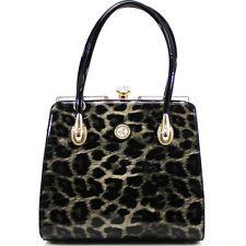 Women Tall Patent Leopard Print Black Handbag Shoulder Messenger Fancy Tote Bag