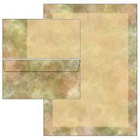 Blätter Collage M. Rahmen Set Motivpapier Briefpapier 20 Blatt A4 + 10 Umschläge