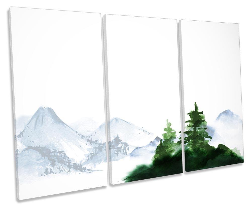 Tree Mountains Landscape TREBLE CANVAS WALL ARTWORK Print Art