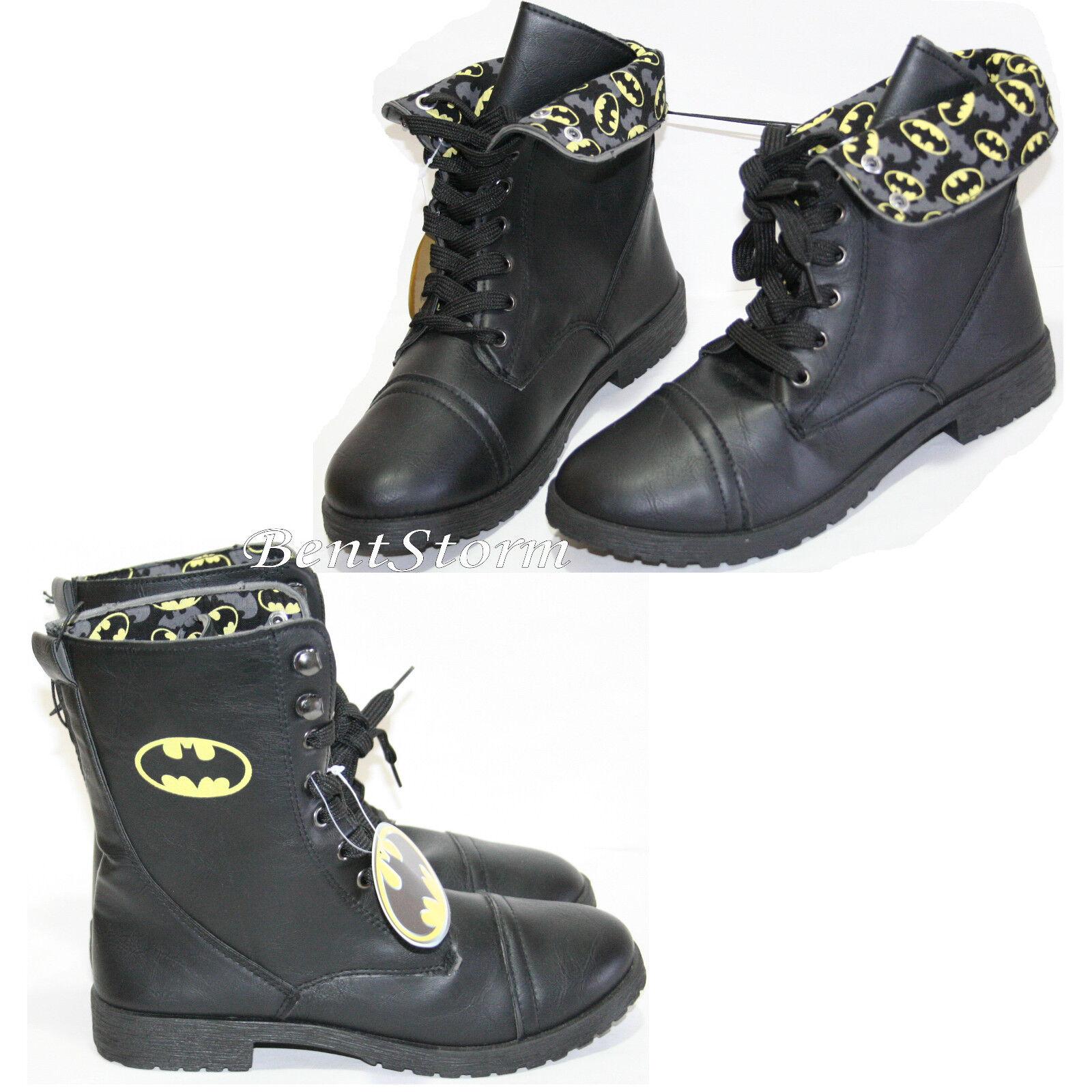 DC Comics BATMAN COMBAT BOOTS LOGO Allover Damenschuhe Fold Over Lace Up Schuhe 7-8