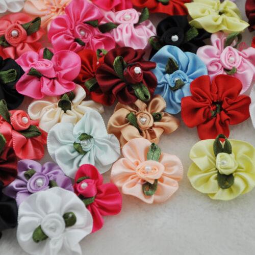 40 un Cinta de Raso Flores Moños Con Perla Boda//Coser//Apliques lotes A01