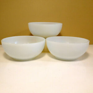 """(3) Vintage Fire King Anchor Hocking Oven Proof Milk Glass 5"""" Cereal Bowls USA"""