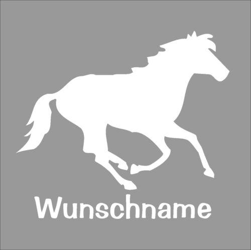 Pferdeaufkleber mit dem Namen des Lieblingspferdes Aufkleber Pferd geplottet.