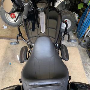 """Black Long Adjustable Highway Foot Pegs 1-1//4/"""" Crash Bar For Harley Davidson US"""