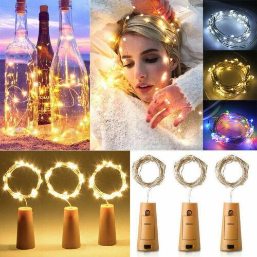 20//10 LED Wine Bottle Cork Shape Lights Night Fairy String Light Lamp Xmas Party