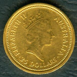 1987-Australian-1-4-Oz-GOLD-25-Dollars-034-The-Australian-Nugget-034-Coin-KM-96