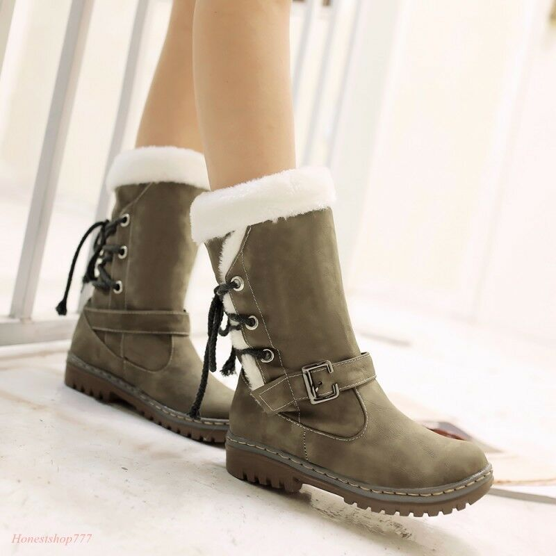Women Retro Lace Up Warm Snow Mid Calf Boots Fashion Fur Furry Flat shoes Size