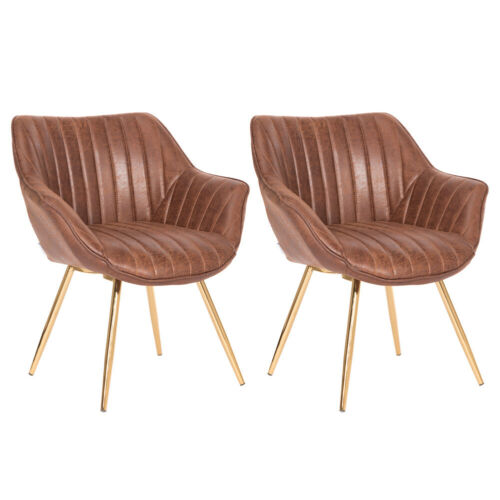 2x Retro Distressed Leather Padded Armchair Dining Chair Home Office Guest Seat