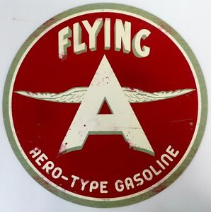 FLYING-A-AERO-TYPE-GASOLINE-ALL-WEATHER-METAL-SIGN-AGED-LOOK